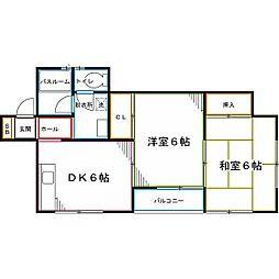 西武国分寺線 恋ヶ窪駅 徒歩9分の賃貸アパート 1階2DKの間取り