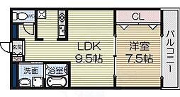 セカンドパレス 2階1LDKの間取り