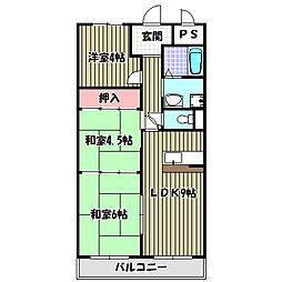 大阪府堺市南区和田東の賃貸マンションの間取り