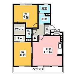 愛知県岡崎市真伝吉祥1丁目の賃貸マンションの間取り