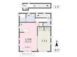 横浜市営地下鉄ブルーライン 中田駅 徒歩4分の賃貸アパート 2階1LDKの間取り