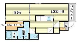 網干区新在家アパート2[104号室]の間取り