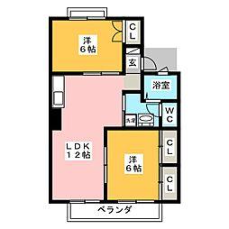 セジュール スギノキ B[2階]の間取り