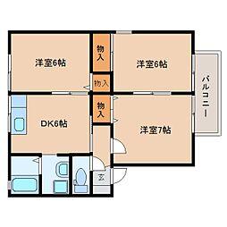 静岡県藤枝市高洲の賃貸アパートの間取り