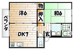 福岡県北九州市戸畑区一枝3丁目の賃貸アパートの間取り