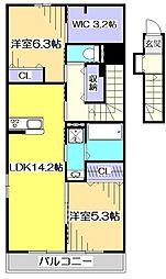 仮)国分寺市高木3丁目新築アパート[2階]の間取り
