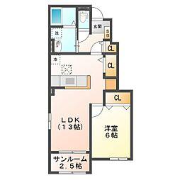 サニーハイツSEINAI Ⅳ[1階]の間取り