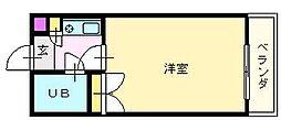 南海高野線 白鷺駅 徒歩5分の賃貸マンション 5階1Kの間取り