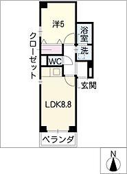 愛知県名古屋市熱田区大宝1丁目の賃貸マンションの間取り