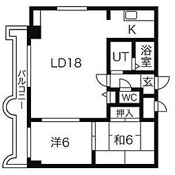 エンドレス三井南3西7[1106号室]の間取り