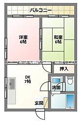 京阪本線 寝屋川市駅 徒歩10分の賃貸マンション 3階2DKの間取り