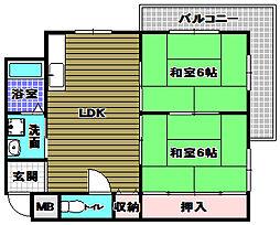 プレアール藤沢台 2階2DKの間取り