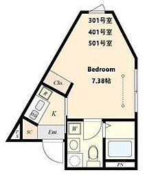 都営三田線 春日駅 徒歩4分の賃貸マンション 2階1Kの間取り