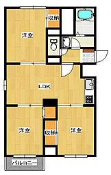 下栗1丁目 3LDK アパートB棟[3階]の間取り