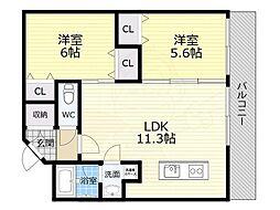 パラゴン松 5階2LDKの間取り