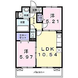 JR片町線(学研都市線) 鴻池新田駅 徒歩13分の賃貸アパート 2階2LDKの間取り