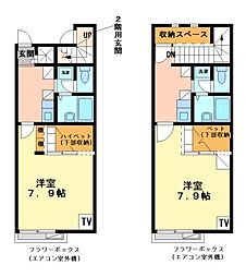 兵庫県加古川市野口町坂元の賃貸アパートの間取り