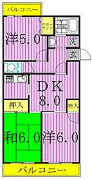 第16パールメゾン小倉 3階3DKの間取り
