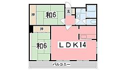兵庫県姫路市飾磨区中野田2丁目の賃貸マンションの間取り