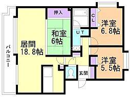 ドミ中ノ沢中央 2階3LDKの間取り