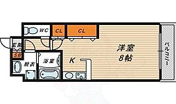 ラ・ペジブル 6階ワンルームの間取り