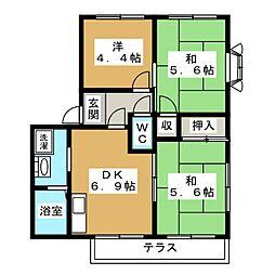 フレグランスヒエイビューB棟[1階]の間取り