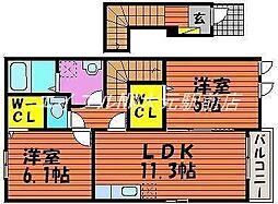 岡山県玉野市長尾の賃貸アパートの間取り