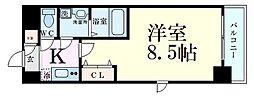 JR東西線 海老江駅 徒歩10分の賃貸マンション 3階1Kの間取り