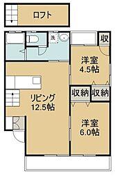 福岡県八女郡広川町大字一條の賃貸アパートの間取り
