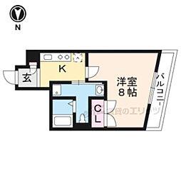 京福電気鉄道北野線 北野白梅町駅 徒歩22分の賃貸マンション 4階1Kの間取り