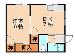 福岡県福岡市中央区笹丘1丁目の賃貸マンションの間取り