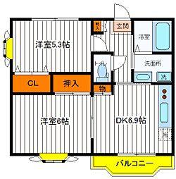 JR青梅線 西立川駅 徒歩14分の賃貸マンション 3階2DKの間取り