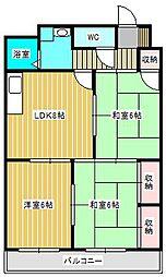 ワンズコア新松戸II[202号室]の間取り