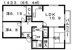 アメニティタウン1号館[203号室号室]の間取り