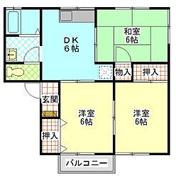 シャトレ湯川B[2階]の間取り