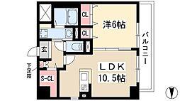 仮)弥富通マンション 3階1LDKの間取り