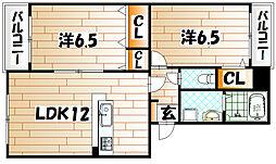福岡県北九州市八幡東区荒生田3丁目の賃貸マンションの間取り