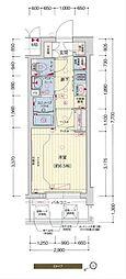 プレサンスOSAKA DOMECITYスクエア 6階1Kの間取り