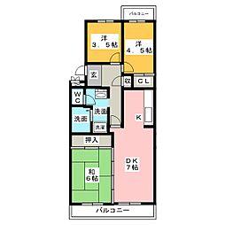 徳重団地6号棟[2階]の間取り