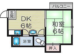 コスモ新北野 4階1DKの間取り