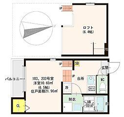 S)ハーモニーテラス横枕 1階1SKの間取り