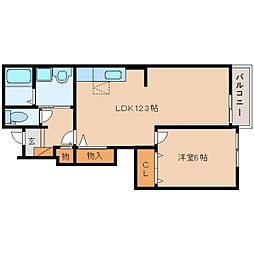 JR和歌山線 畠田駅 徒歩20分の賃貸アパート 1階1LDKの間取り