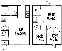 [テラスハウス] 北海道札幌市南区川沿二条3丁目 の賃貸【/】の間取り