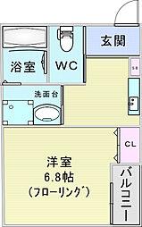 エム・ステージ新大阪 3階1Kの間取り