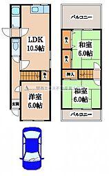 [一戸建] 大阪府東大阪市北石切町 の賃貸【/】の間取り