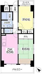 Osaka Metro御堂筋線 なかもず駅 徒歩4分の賃貸マンション 5階2DKの間取り