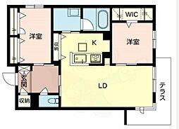 Osaka Metro御堂筋線 新金岡駅 徒歩9分の賃貸マンション 1階2LDKの間取り
