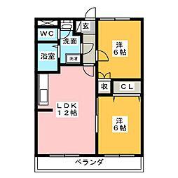 パールロイヤル江島[4階]の間取り