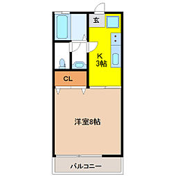 栃木県宇都宮市峰町の賃貸アパートの間取り