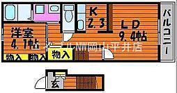 岡山県岡山市中区平井6の賃貸アパートの間取り